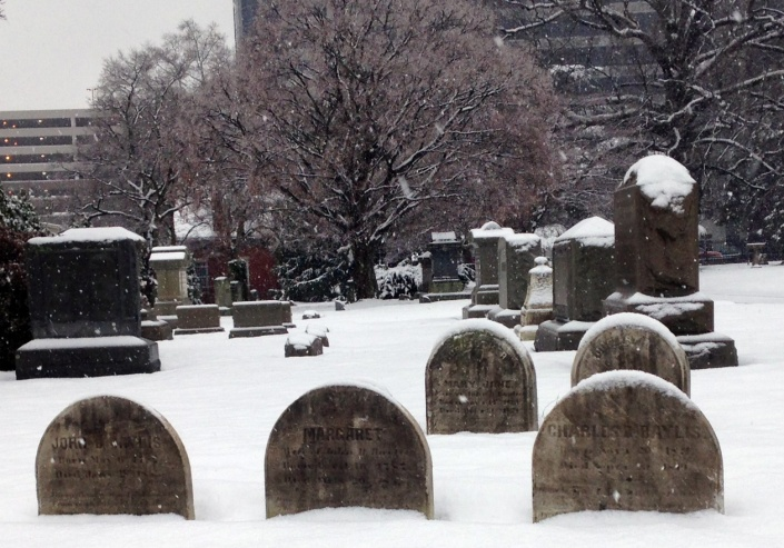 Snowy first day of Spring at Wilmington and Brandywine Cemetery, March 20, 2015.